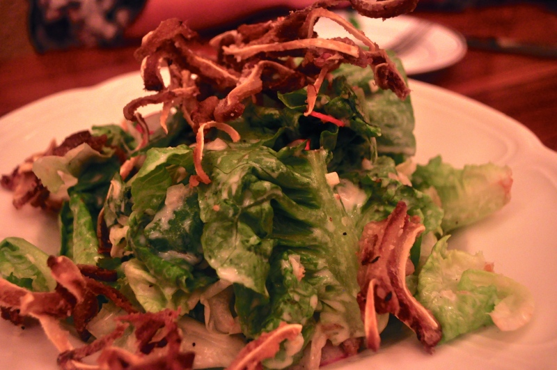 Little Gem Salad with Crispy Pig Ears.