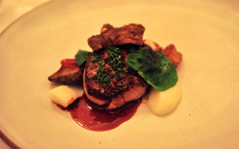 Foie Gras, seared with Sunchoke, Dates and Water Chestnut.