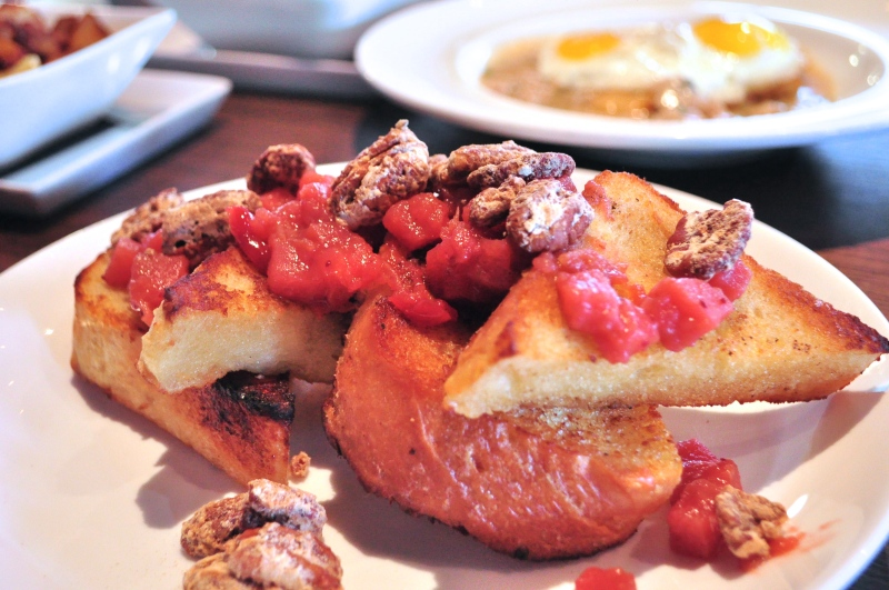 French Toast with Candied Pecans and Strawberry-Rhubarb Preserves.