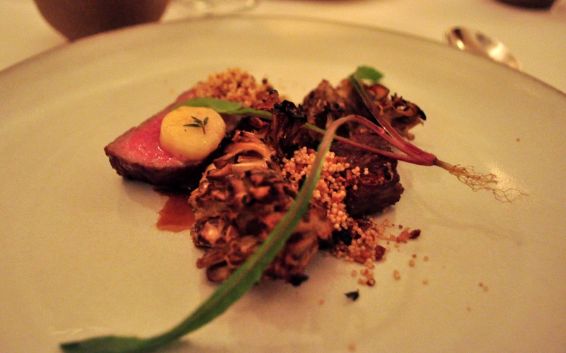 Beef, Grilled with Mushrooms, Amaranth and Bone Marrow. Braised Oxtail with Foie Gras and Potato
