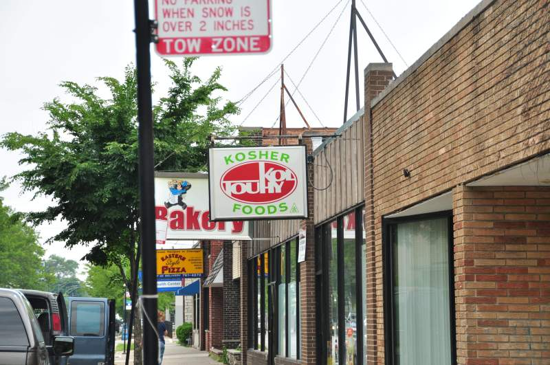 A row of kosher stores on Touhy Avenue in Rogers Park.