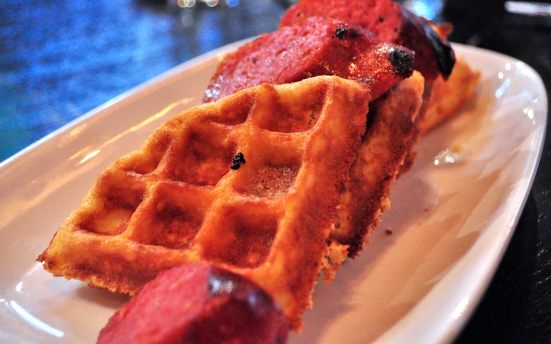 Waffles with Housemade Sausage.