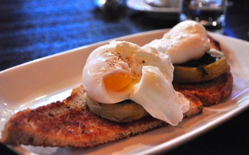 Poached Eggs on Mushrooms.