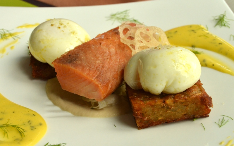 House-Cured Salmon with Poached Eggs.