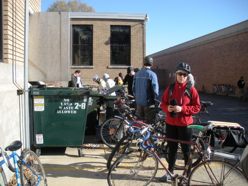 Riders get in line to sign in for Cranksgiving.