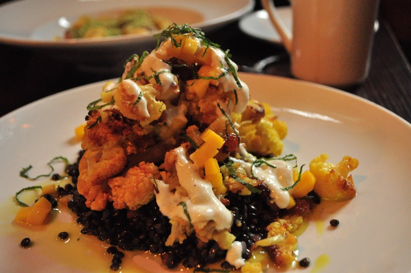 Curried Cauliflower with Mango and Beluga Lentils.