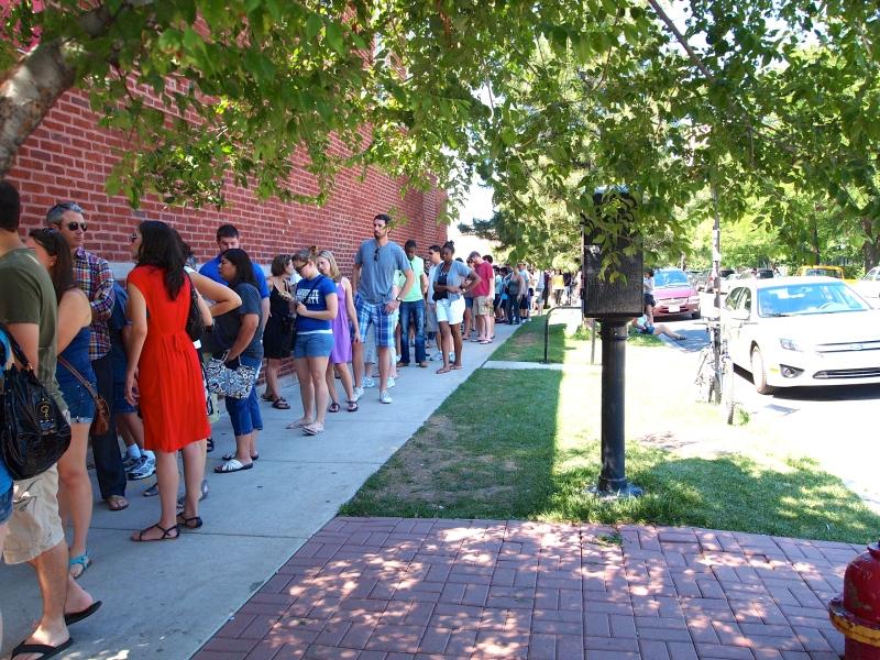 The line outside Hot Doug's.