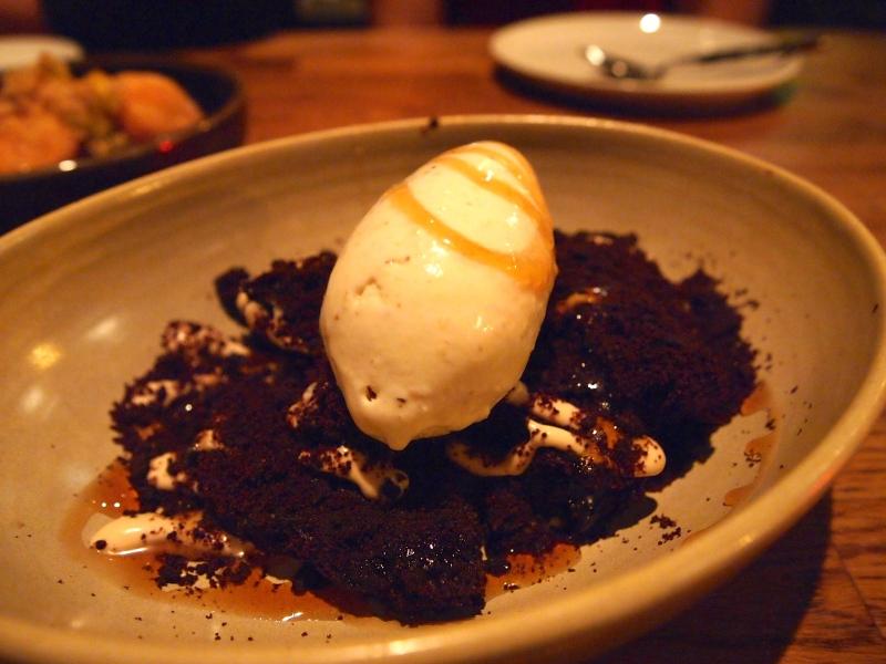 Shiitake mushroom gelato with chocolate brownie.