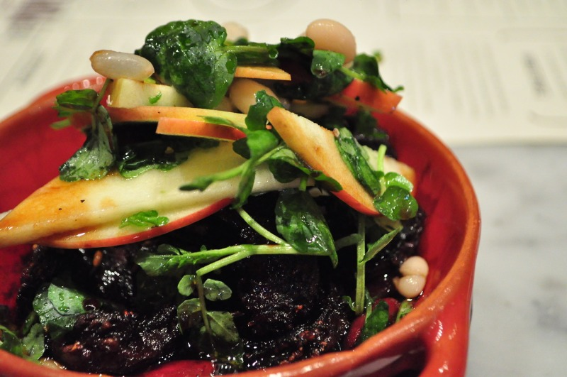 Morcilla with Apples and White Beans.