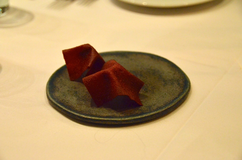 Beet chip with beef tartare.