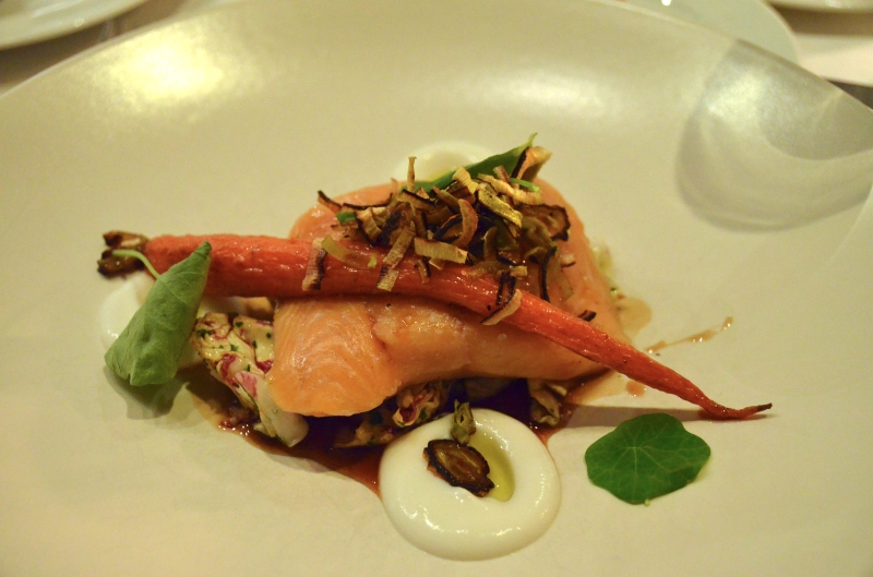 Seaweed-smoked Arctic char, horseradish pudding, carrots and radicchio.